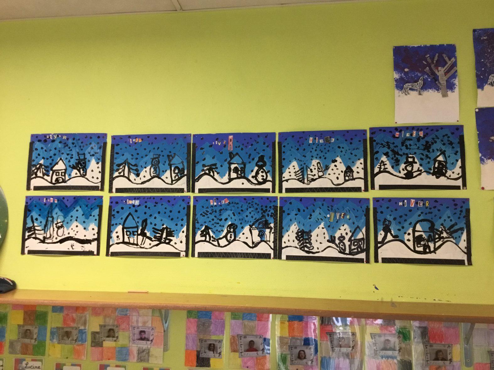 Paysages d hiver ecole saint l onard guingamp - Dessiner un paysage d hiver ...